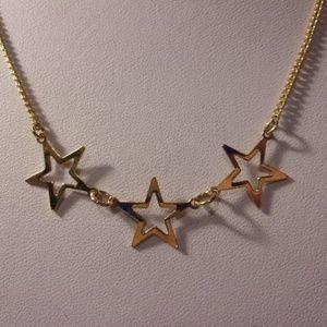 "Vtg Gold Tone Star Necklace 18"" Long"